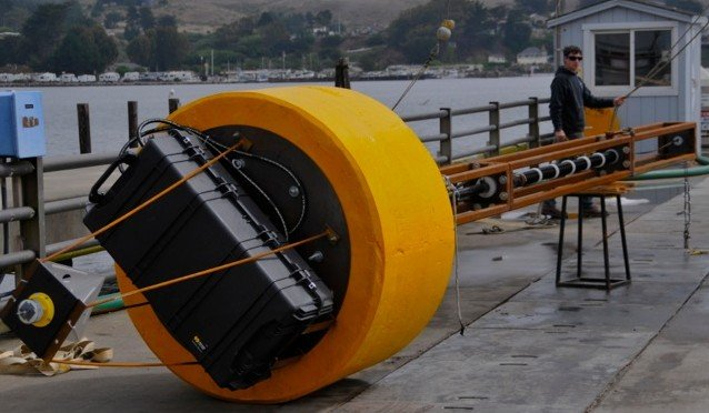 Author Nick Raymond with the Wave Energy Converter in Bodega Bay, Ca