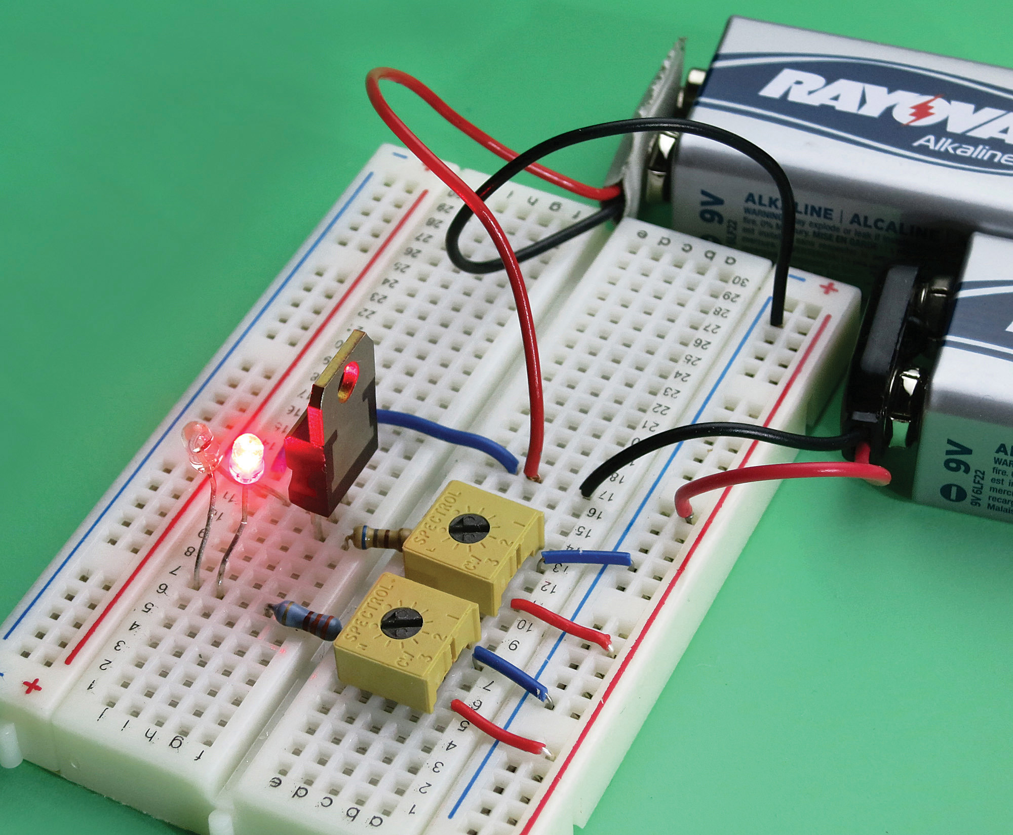 The breadboarded layout.