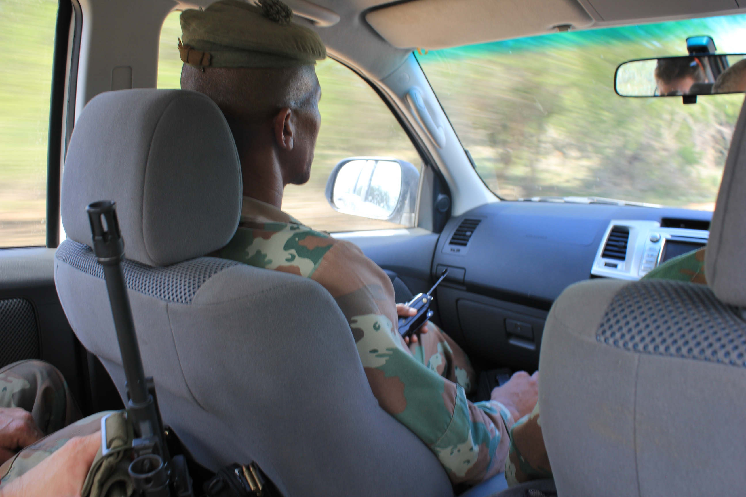 Driving to the Mozambique border with the South African National Defense Forces