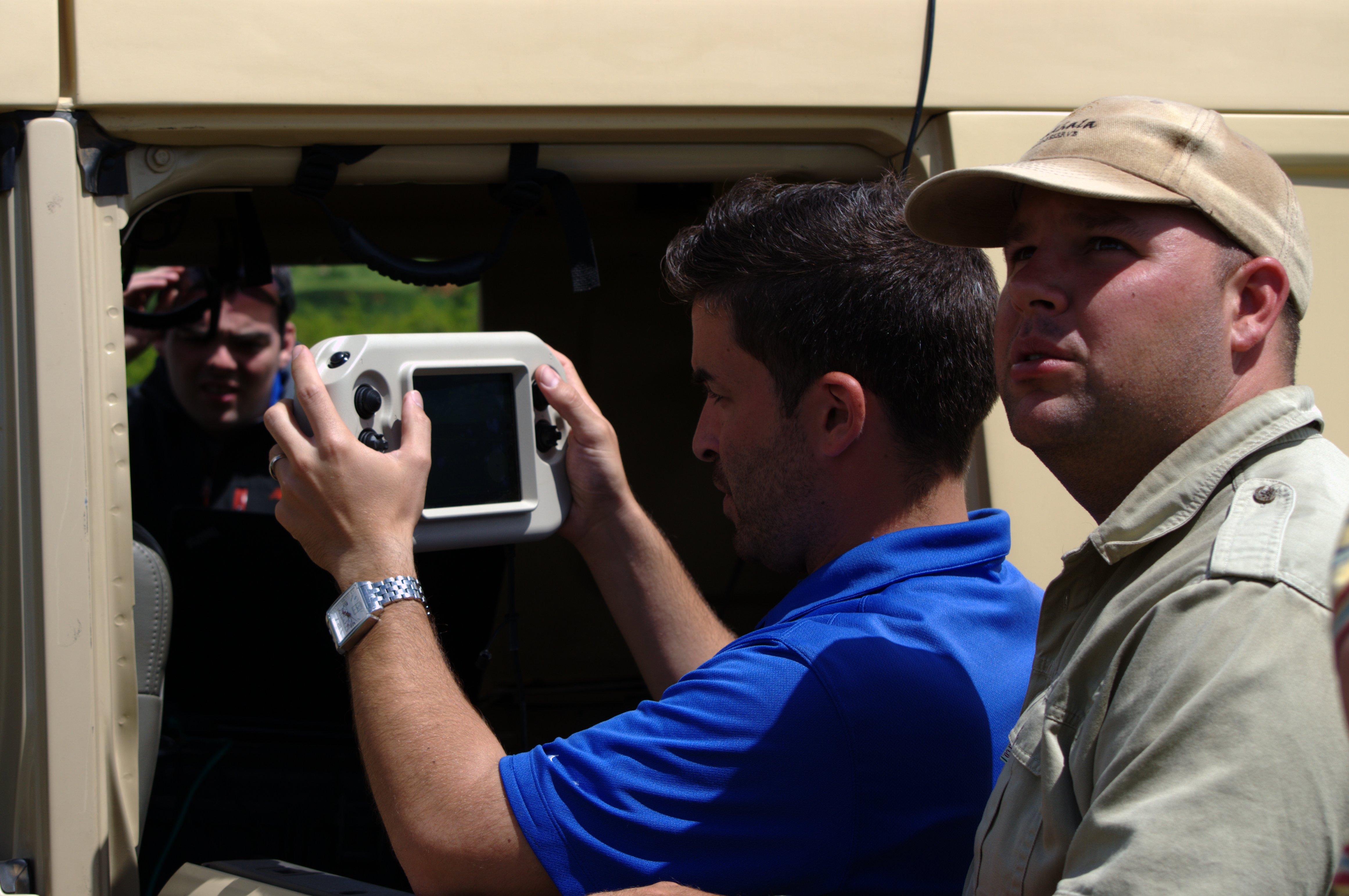 A ranger at Amakhala Game Reserve observes UAV flight