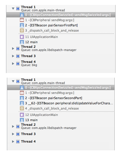 The call stack in the Xcode IDE during characteristic writes.