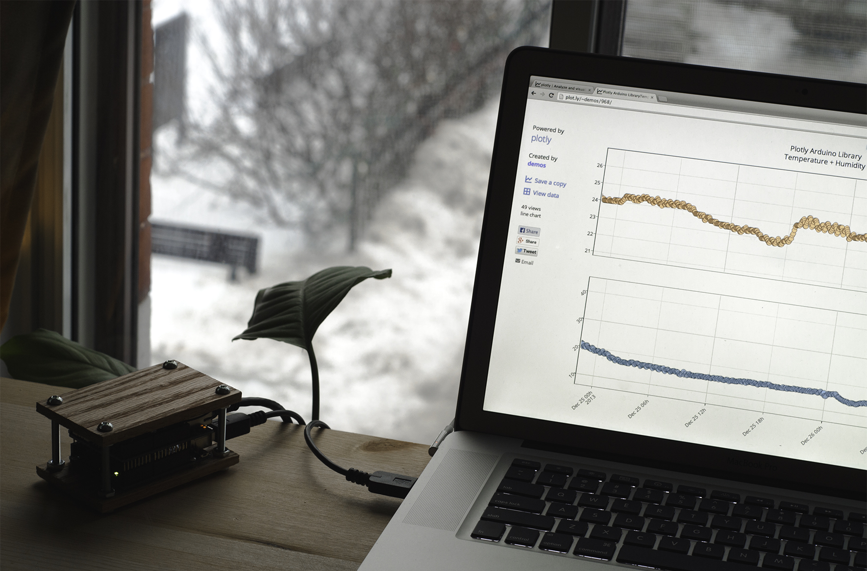 An Arduino streaming data to a Plotly graph.