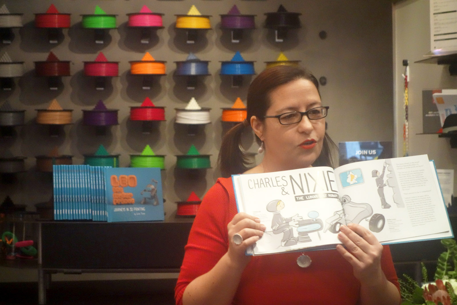 Carla reads from LEO the Maker Prince
