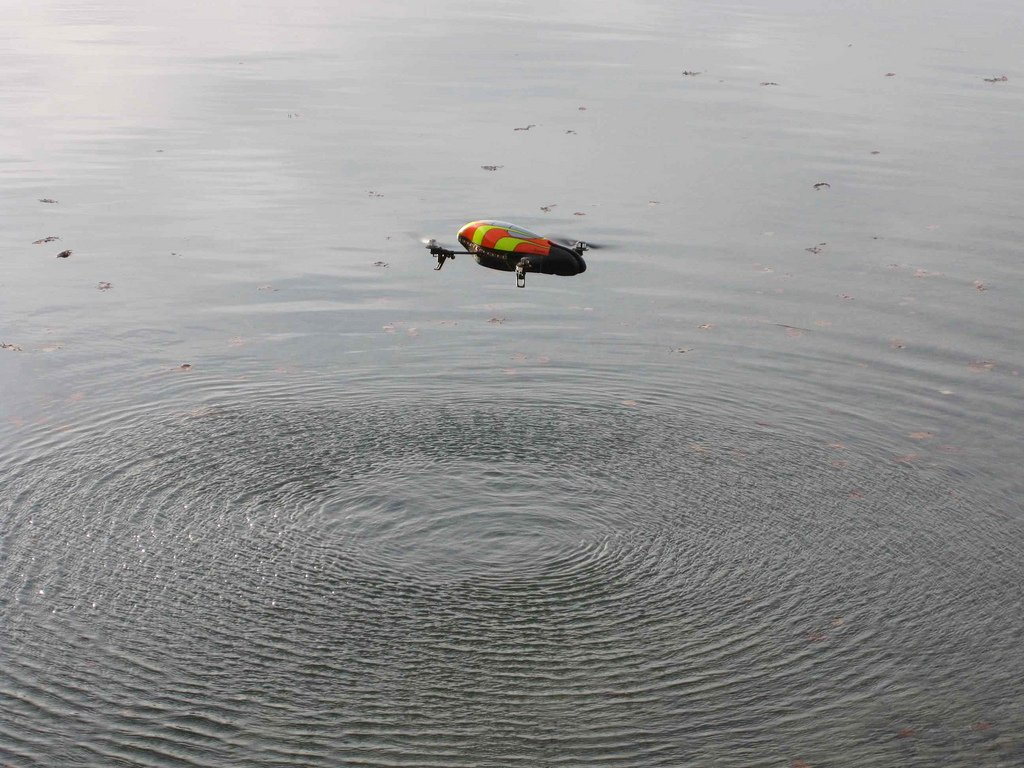 Parrot AR Drone hovering over open water. Photo: solarthermienator/flickr