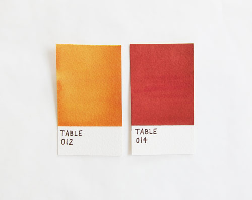 Pantone inspired place cards