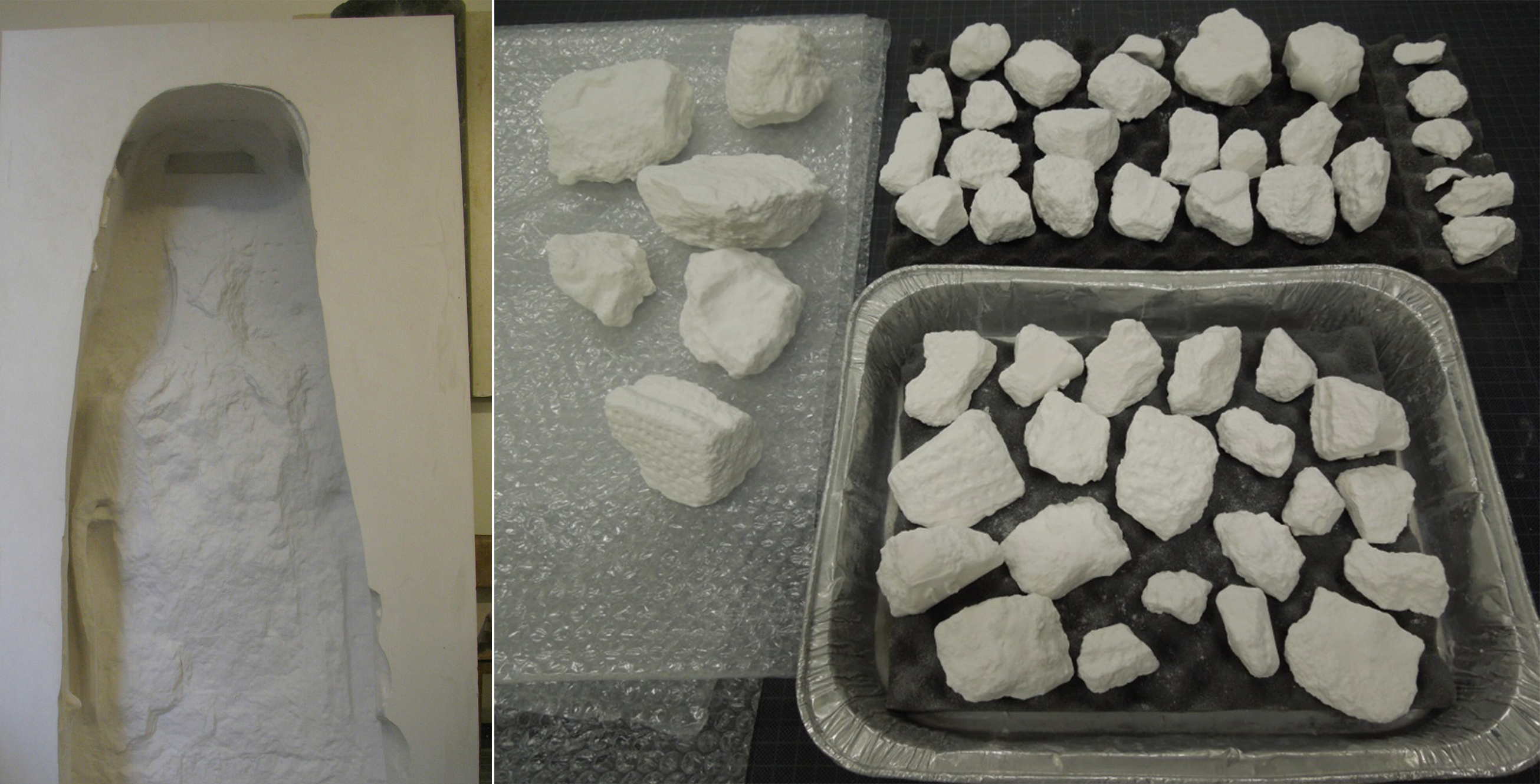 3D printed niche on left, 3D printed fragments at 1/25 scale or right.