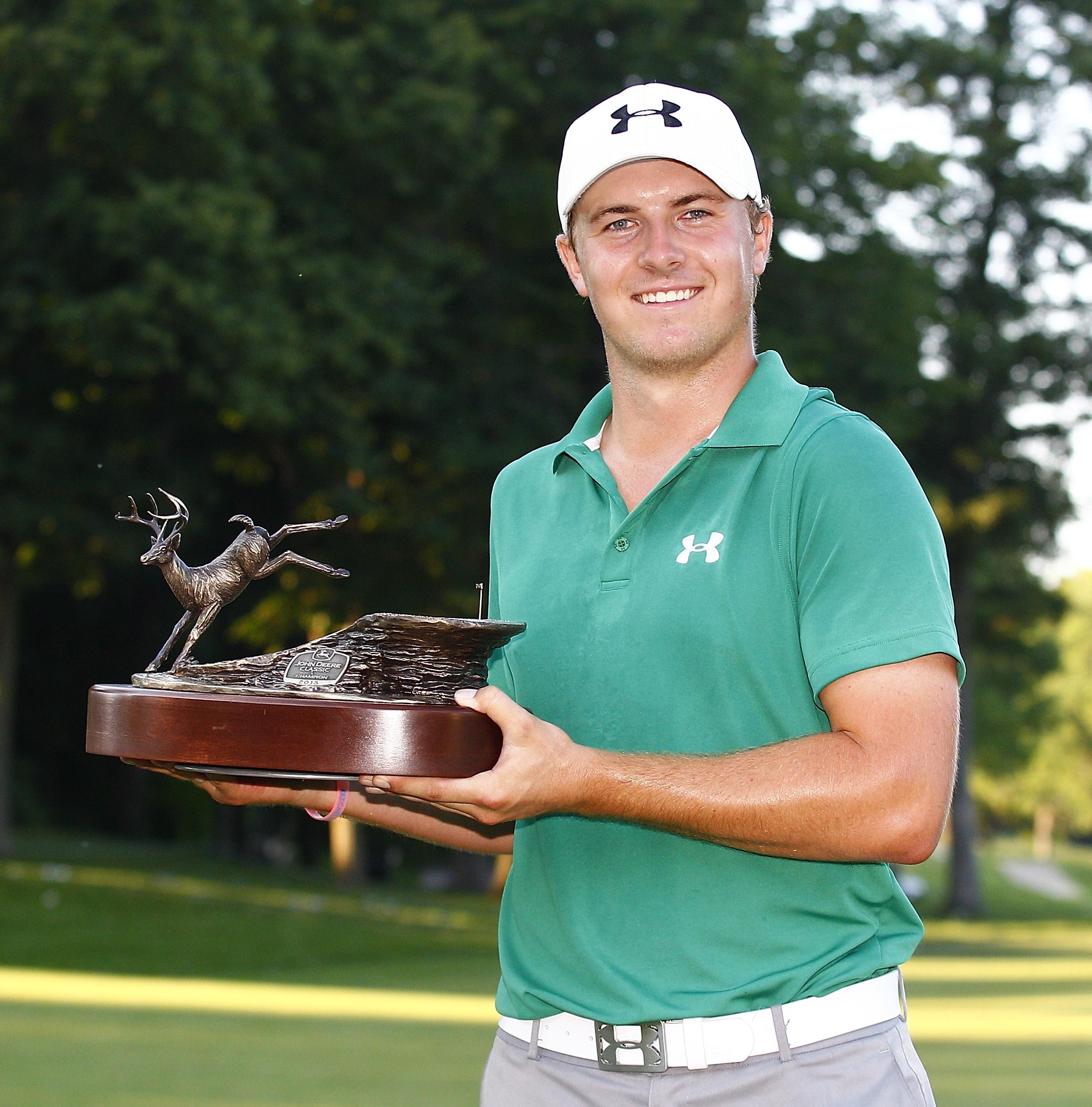 PGA winner Jordan Spieth poses with the DeMille-designed John Deere Classic trophy (Photo courtsey of John Deere Classic)