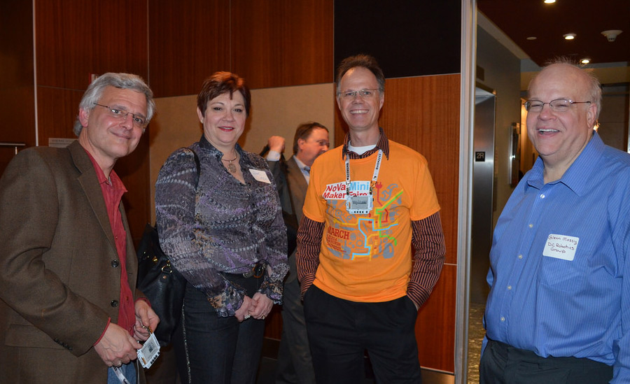 Notable Makers (Left to Right) included Bob Coggeshall from Small Batch Assembly (with wife Pam), Justin Shaw from WyoLum, and  Glenn Mossy from DC Robotics. Photo: Emily Shaw