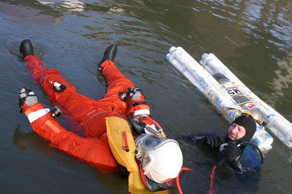 Pacific Spaceflight volunteer Ben Wilson in a flotation test in downtown Portland, Oregon.Photo: Collection of Cameron M. Smith