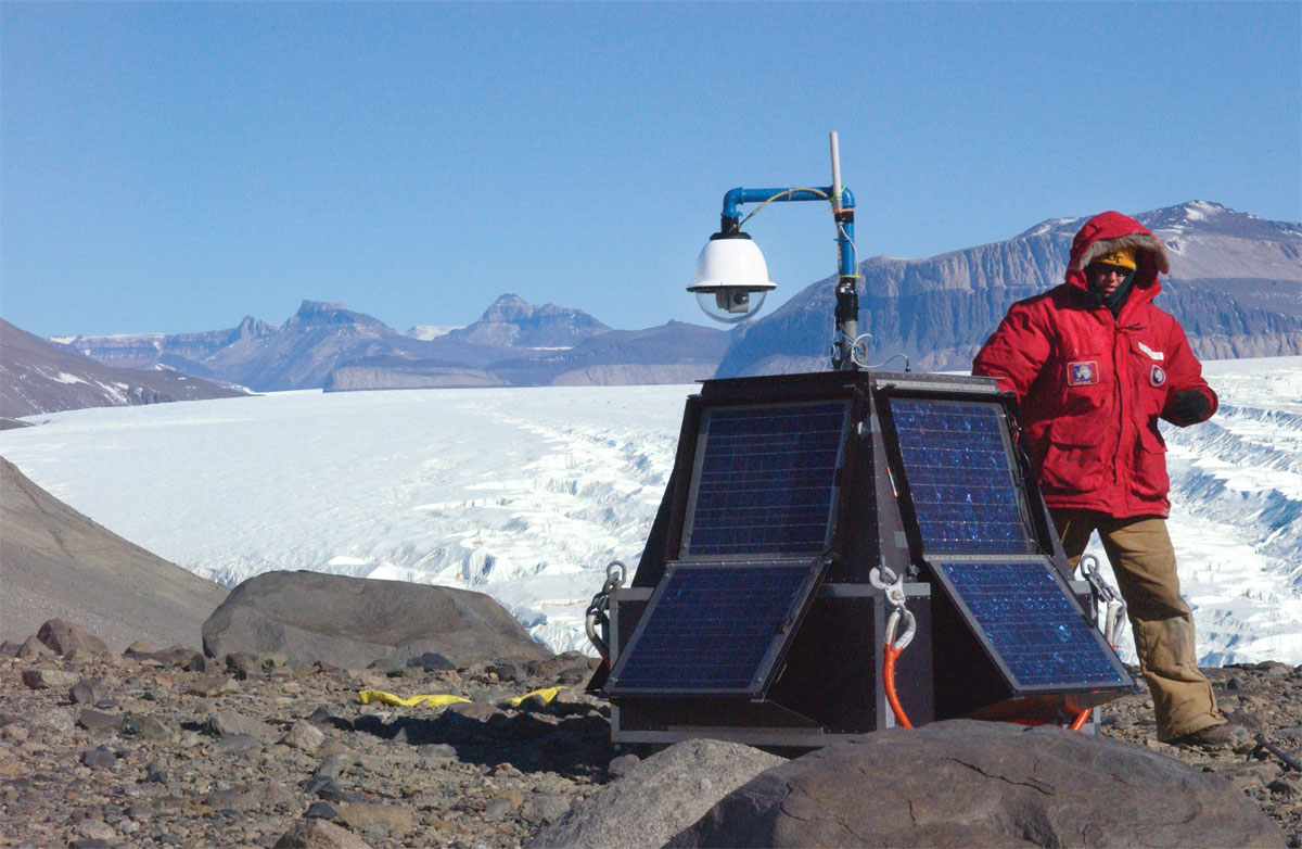 The team's TAISU carbon-sensing device, with wi-fi observation camera, at the top of the Bonney Riegel in the Antarctic Dry Valleys.