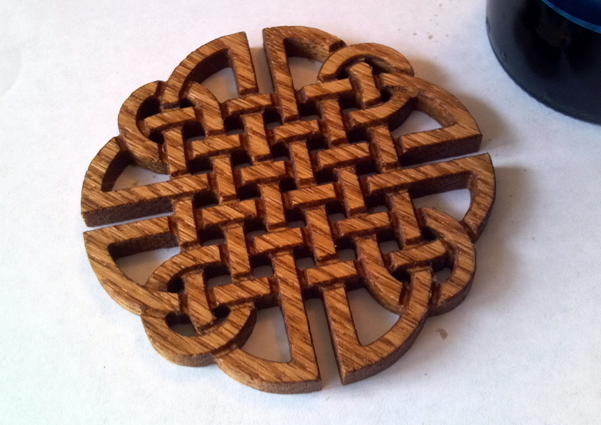Solid Oak Celtic Braid Beer Coaster