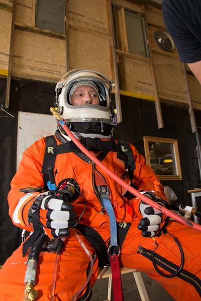 Cameron M. Smith of Pacific Spaceflight / Copenhagen Suborbitals in the Mark I 'Gagarin' Pressure Garment. Photo: Jev Olsen, Copenhagen Suborbitals.