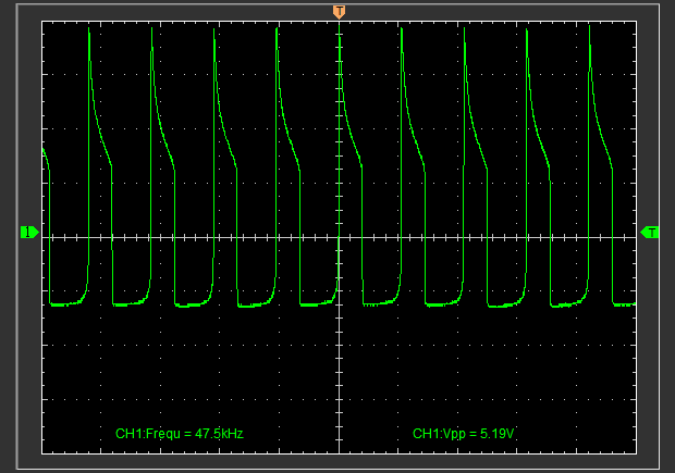 Vampire Flashlight waveform with fresh alkaline AA, measured at the LED.