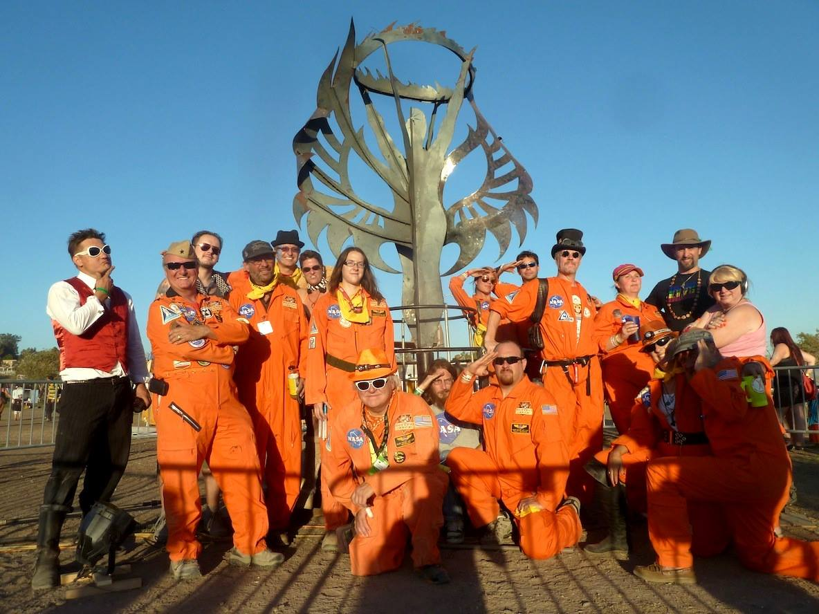 """Many of the Desert Wizards of Mars crew post in front of the """"Human Spirit"""" at the 2013 Los Angeles Decompression. Image by Ray Cirino"""