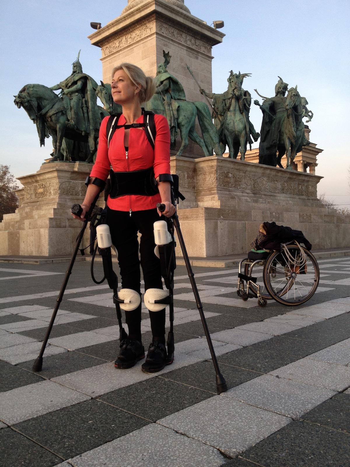 Amanda walking tall in Budapest.
