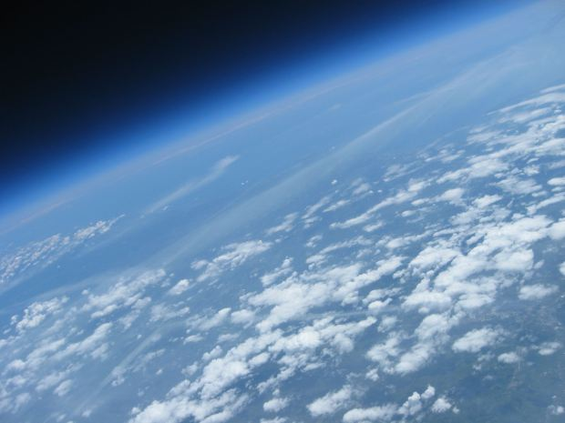 At 100,000 feet, a balloon-mounted camera can capture the curvature of the Earth.