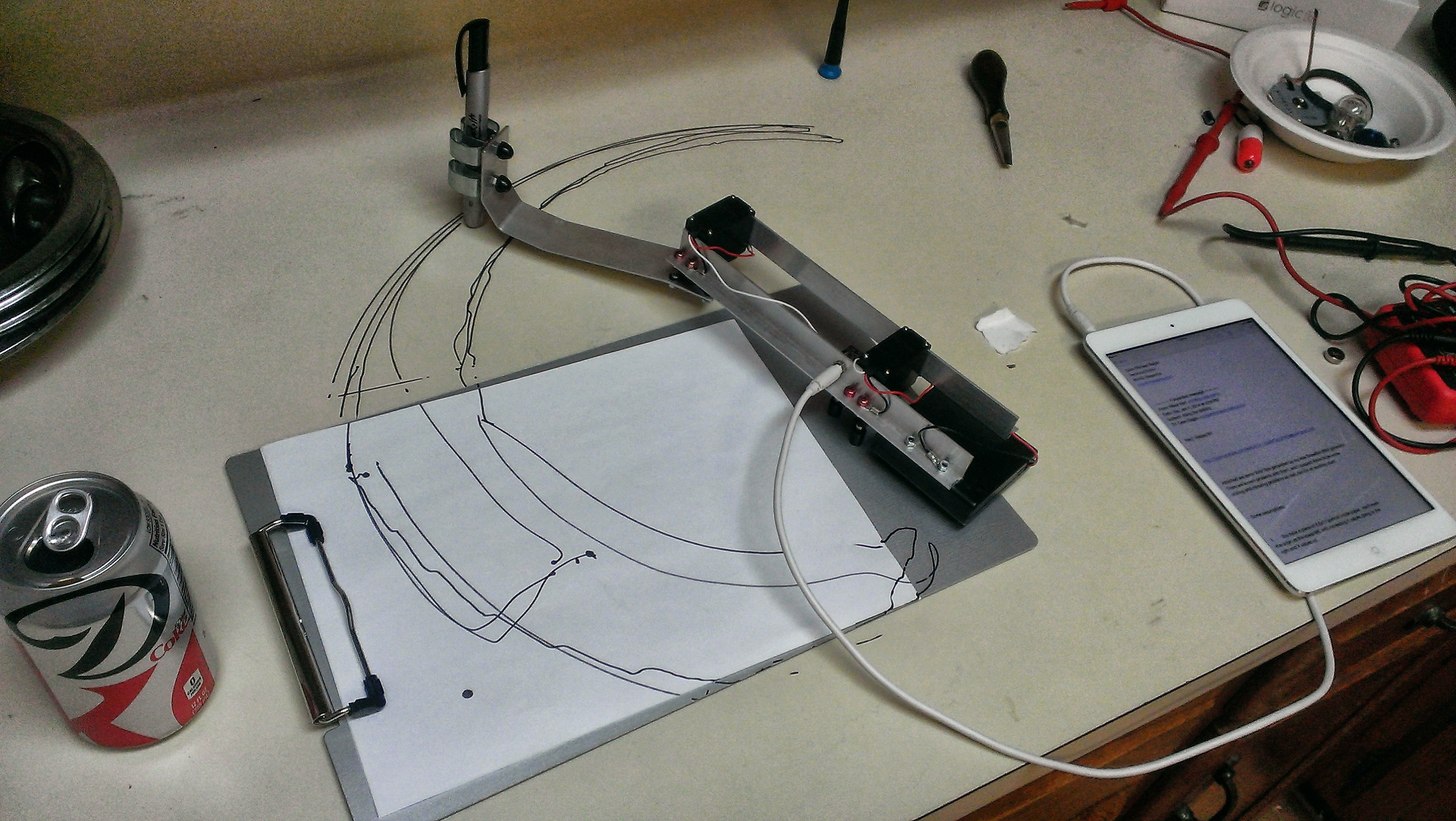 Early TRS Drawbot prototype test. I had the servos wired backwards.