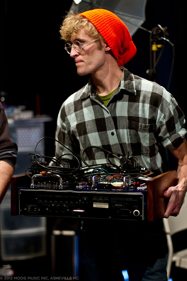 Luis Etscheid, last year's circuit bending champion, with his custom machined Akai Sampler, which used sounds from the Google Doodle displayed on Bob Moog's birthday.