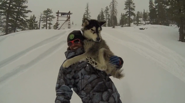 Basich riding his property with his pup Summit.