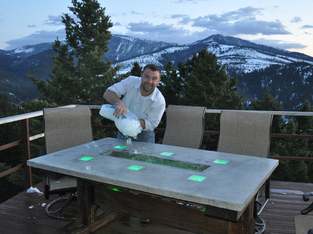 LED Concrete Patio Table with Built-in Beverage Cooler