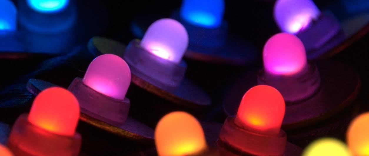 Pixeldelic Vest close-up LEDs