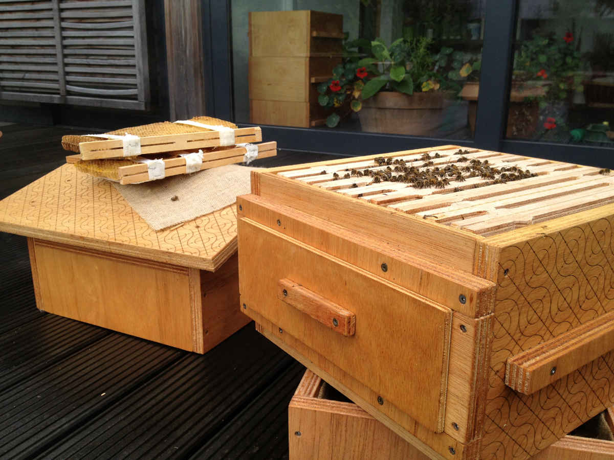 The Open Source Beehives evolved from John Rees' 2013 Fab Academy final project; a collaboration with Annemie Maes of OKNO and of Green Fab Lab's Jonathan Minchin.
