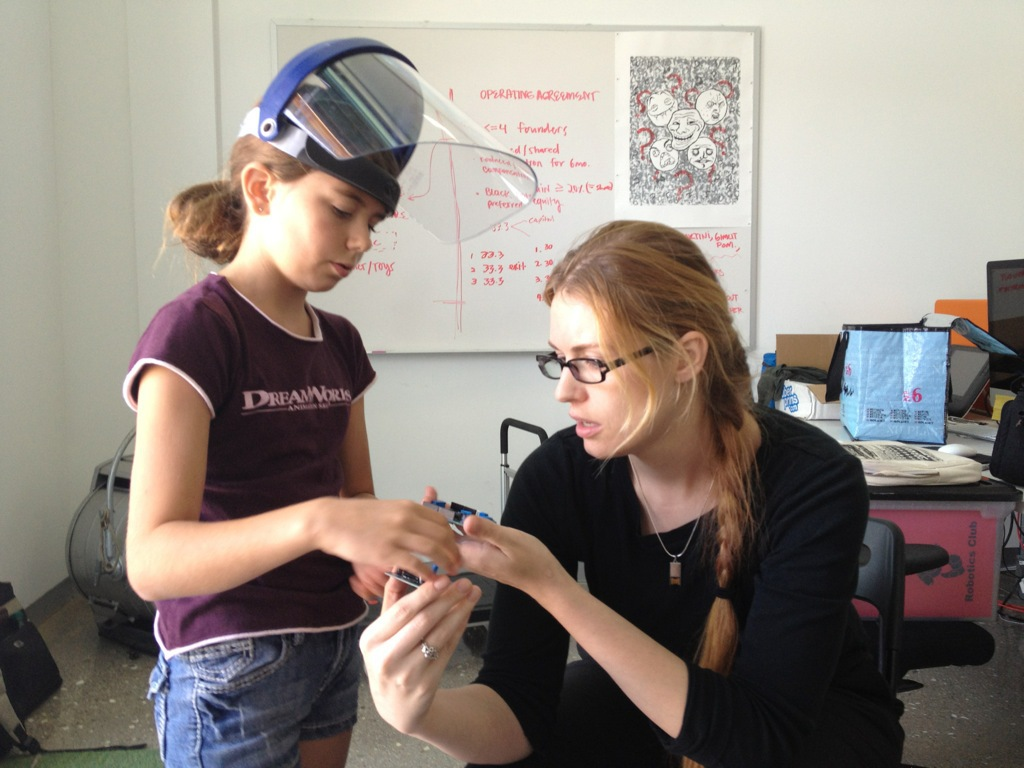 Coco Kaleel and Annika O'Brien, two weeks after Annika taught Coco to solder.