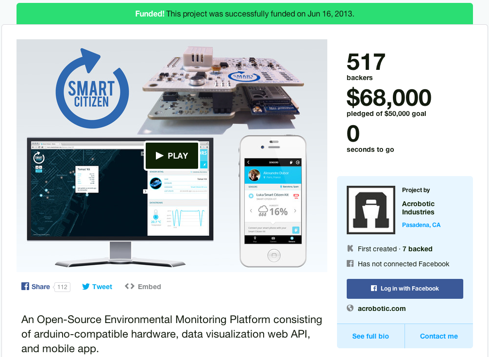 Our very first Kickstarter campaign.  Funded!