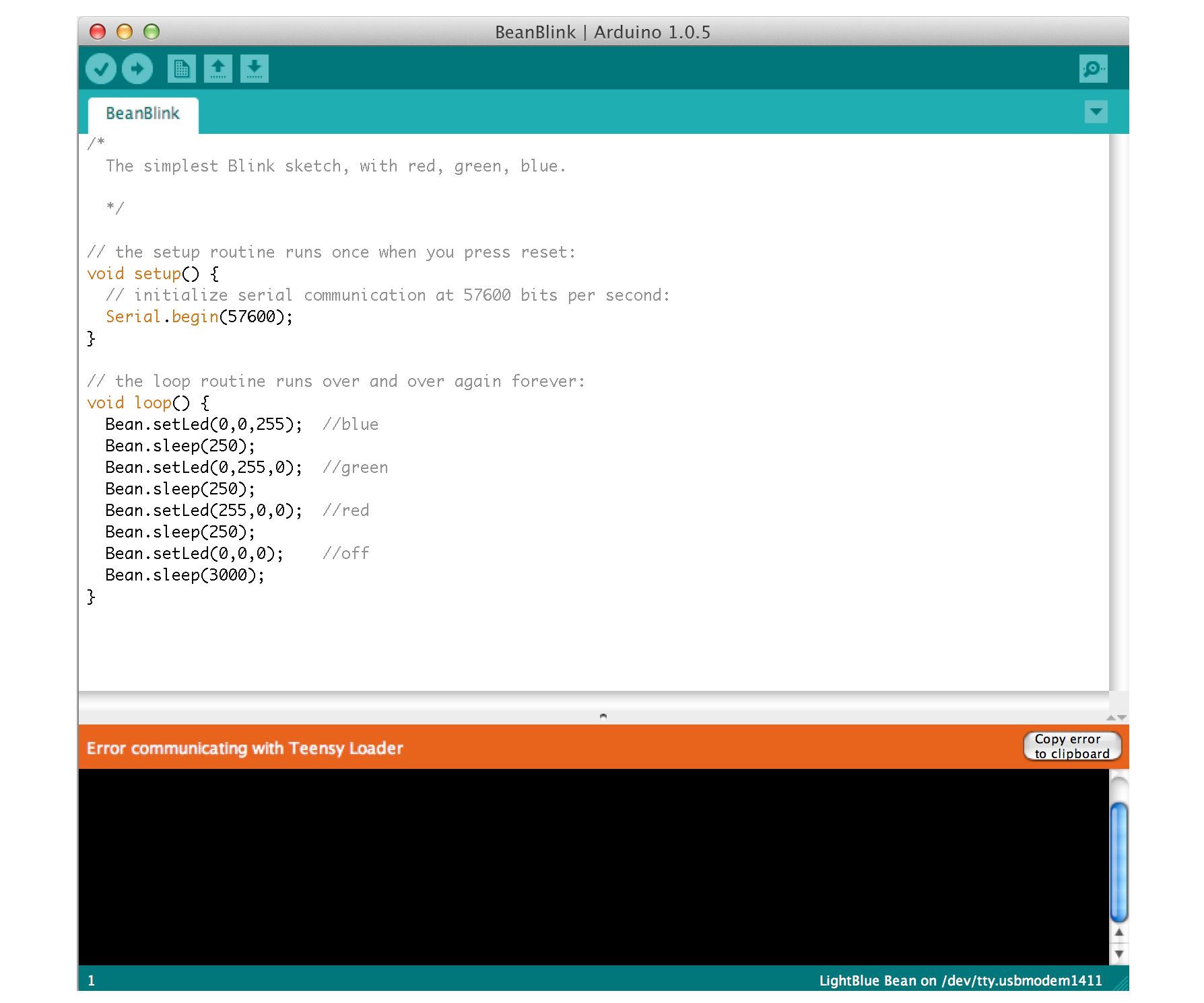 The Arduino IDE having problems communicating with the Teensy Loader.