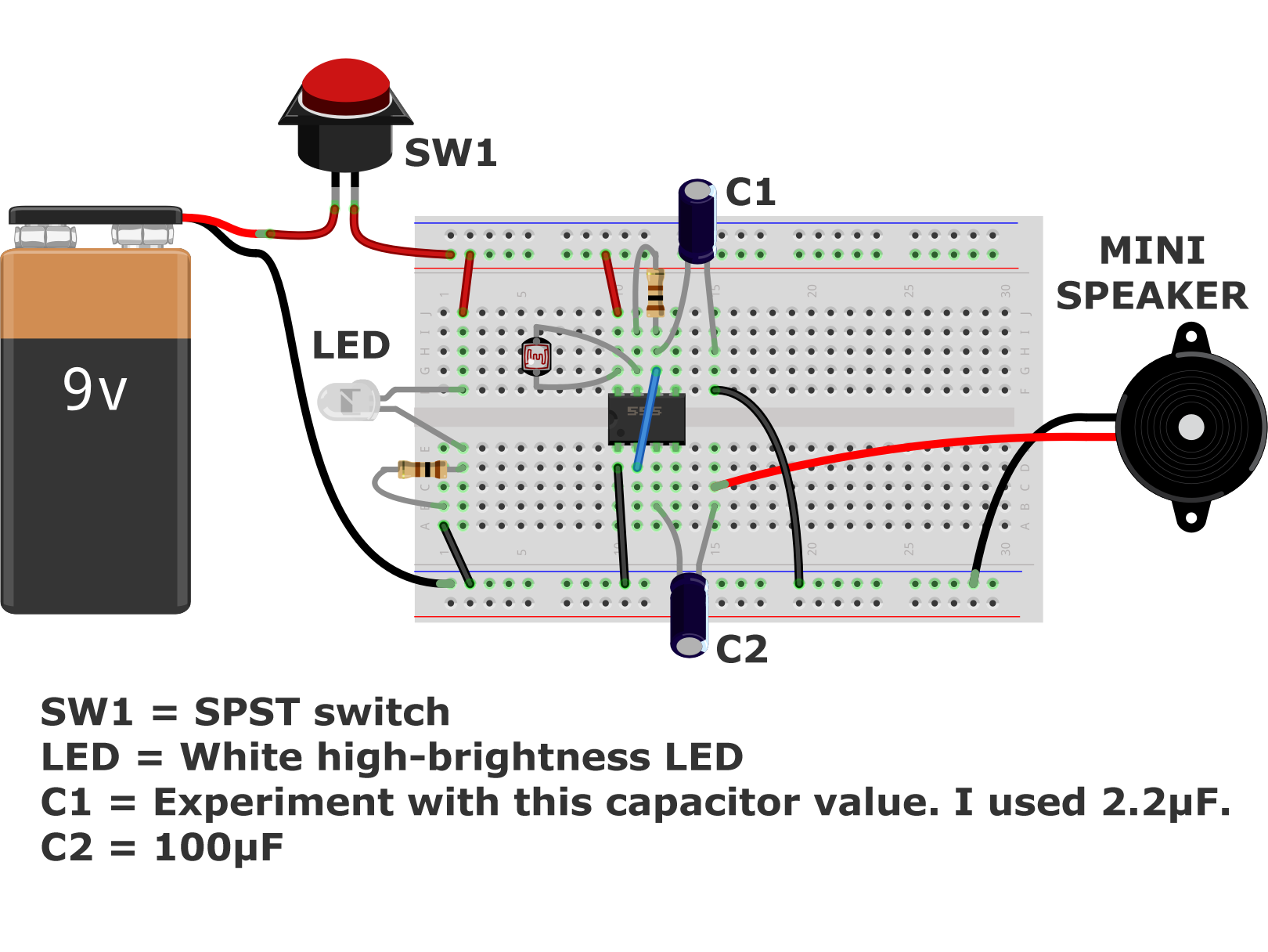 Light2sound Ldr Synth on breadboard circuits