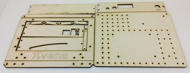 The Pivena laser-cut enclosure unassembled.