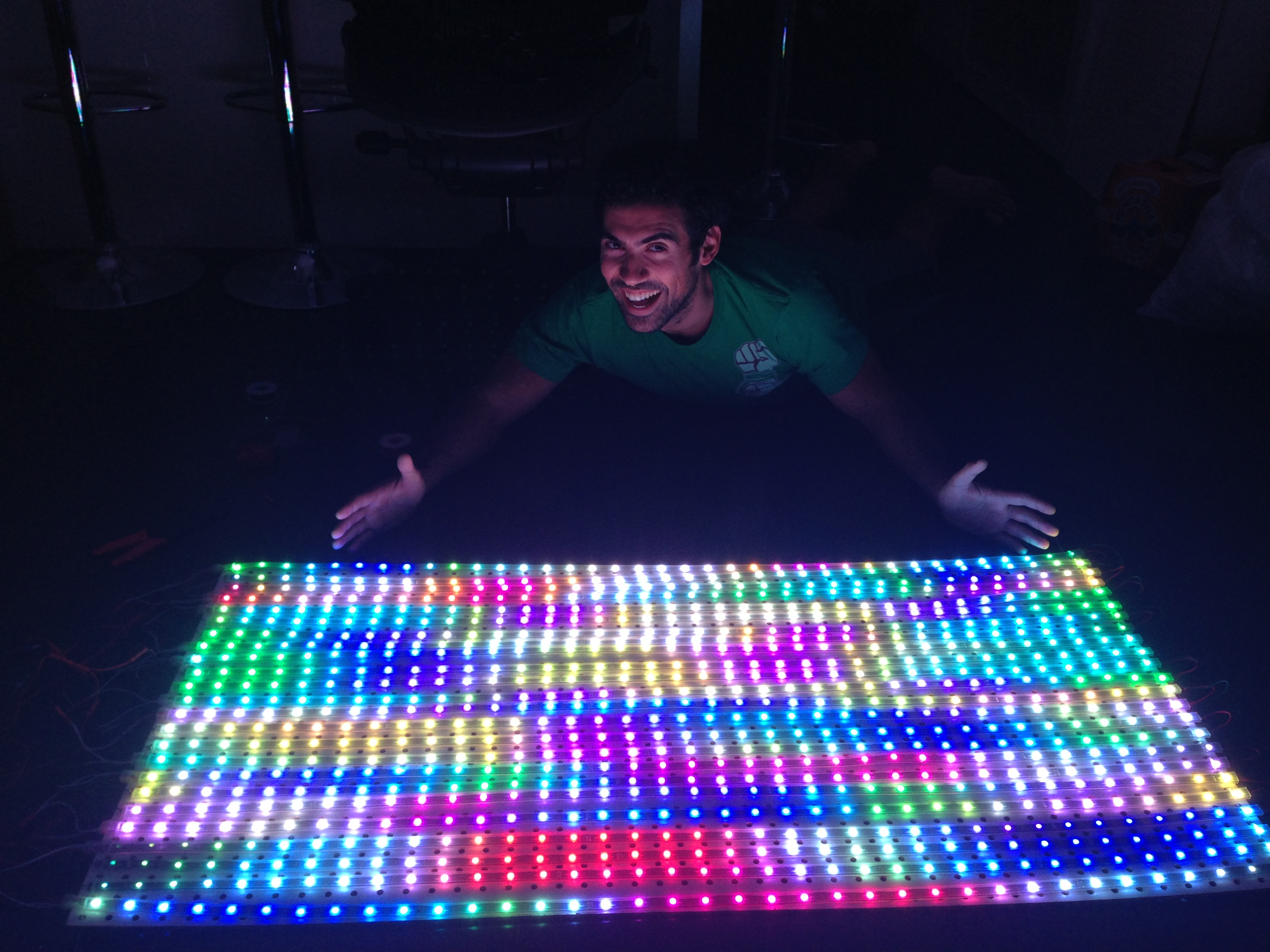 Samy Kamkar, one half of Epoch Rises, showing off the duo's LED panel.