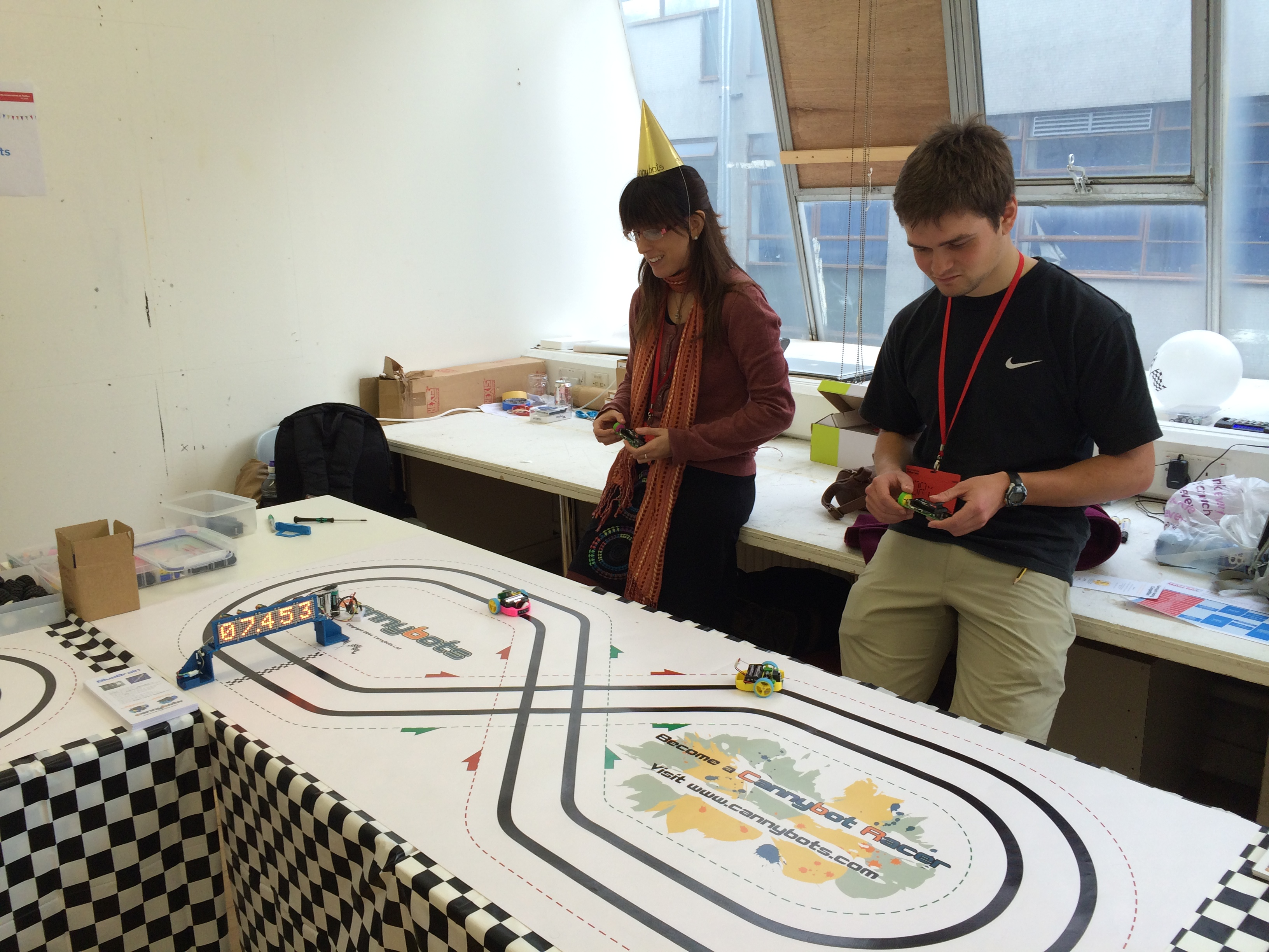 Racing the Cannybots—3d printed and Arduino-based—around the race track.