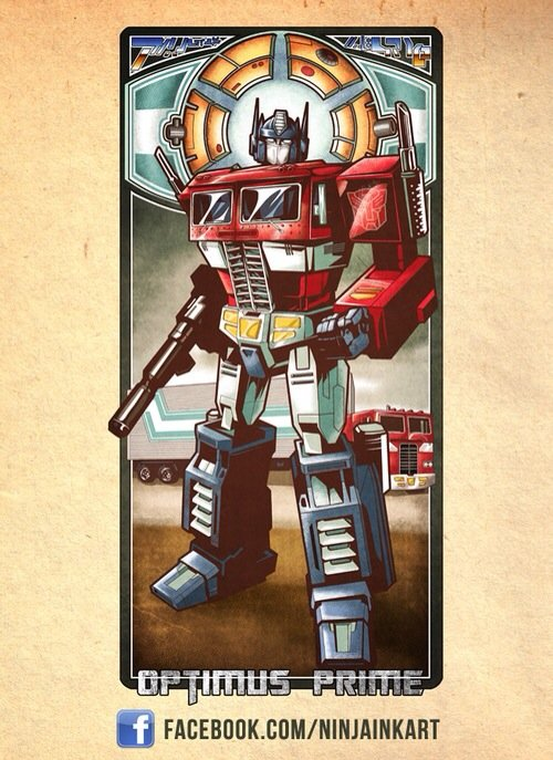 Craig Kovatch took his inspiration for St. Optimus of Prime, from a print by NINJAINKART titled Optimus Prime Noveau.