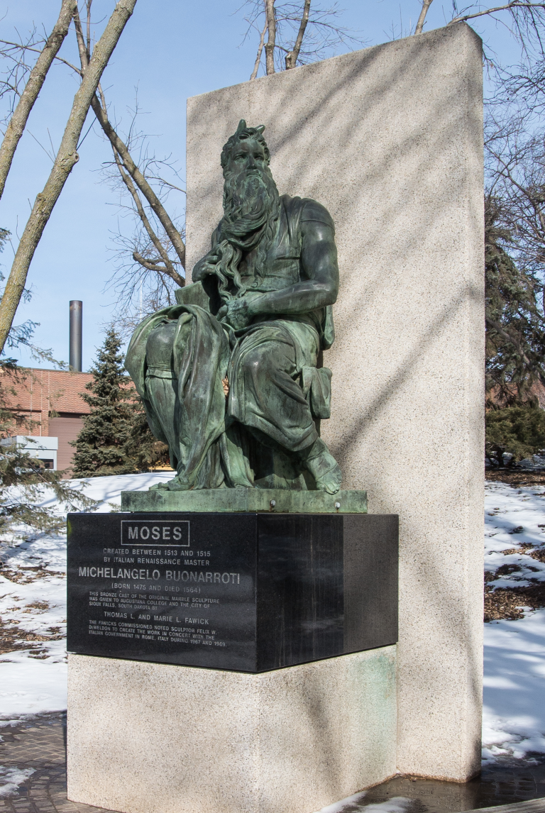 The cast of Michelangelo's Moses on the campus of Augustana College. Photo credit: Jerry Fisher