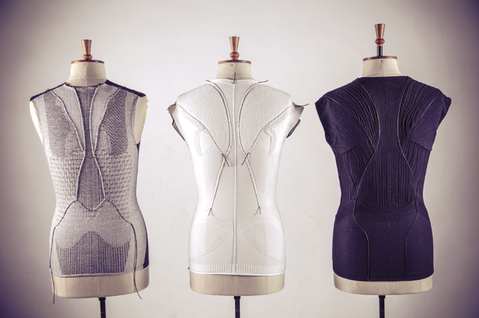 """""""Aeolia"""" by Sarah Kettley, with Tina Downes, Martha Glazzard, Nigel Marshall, and Karen Harrigan, explores the process of incorporating stretch sensors into garments through weaving, knitting, and embroidery techniques."""