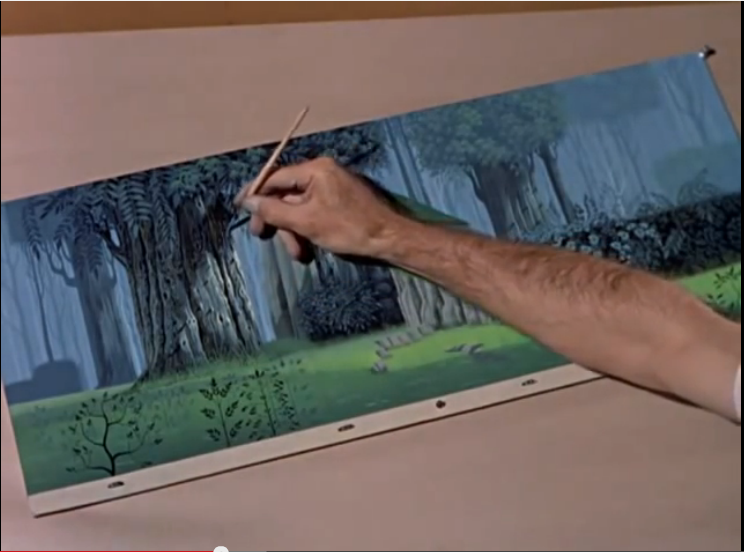 """One artist painting one tree from Disney's documentary """"Four Artists Paint One Tree""""."""