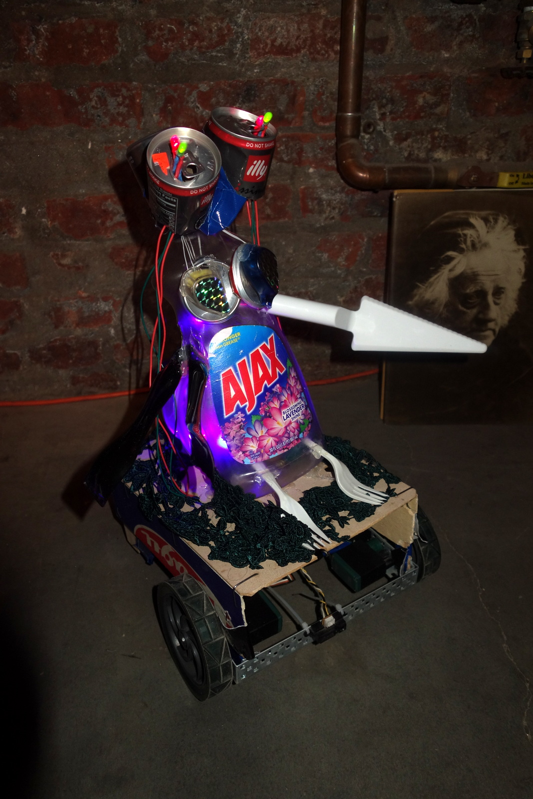 My silent favorite of the show wasn't operating optimally, but I know where this one comes from. Monster Mash by Olivia Barr and Ariel Cotton turned upcycled junk into a creature from the Gowanus Canal, a nearby Superfund site with record levels of pollutants.