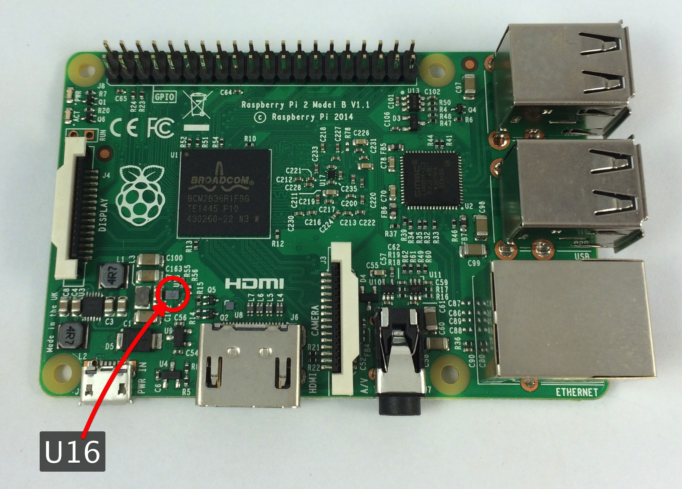 The new Raspberry Pi 2 with the problem SMPS chip (labelled U16) circled.